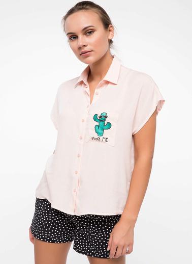 DeFacto Baskılı Gömlek Pembe